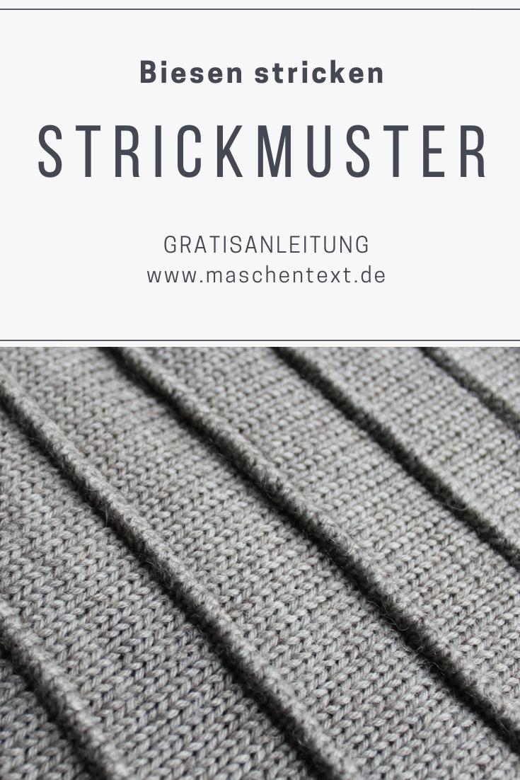 Schnurgeraden Linien oder versetzte Musterelemente einfügen – das Biesenmuster lässt sich variieren. // Strickanleitung // Strickmuster // DIY // Stricken lernen // Anleitung auf Deutsch //