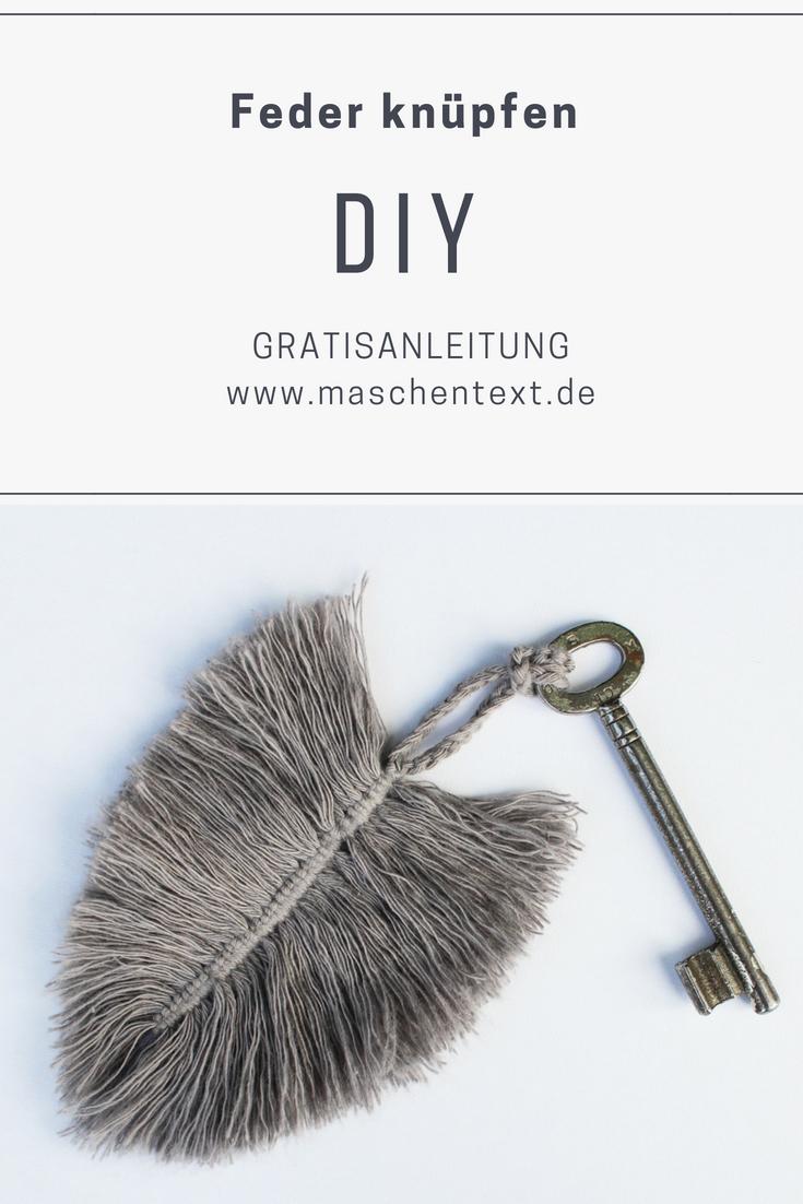 Feder knüpfen: Kostenlose Makramee-Anleitung für einen DIY-Schlüsselanhänger