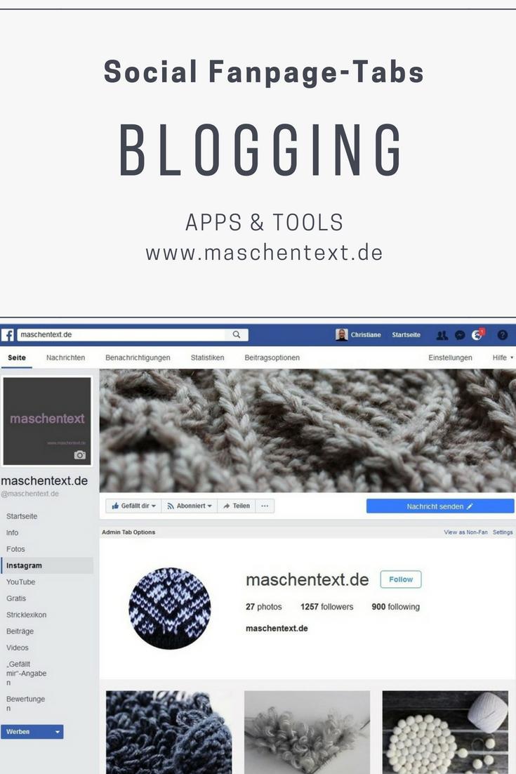Blogging-Tool: Social Tabs für die Facebook-Fanpage, lassen sich über ein kostenloses Facebook-Plugin realisieren. So wird's gemacht... // Blognews, Tipps & Tools // DIY- und Strickblog-Tipps